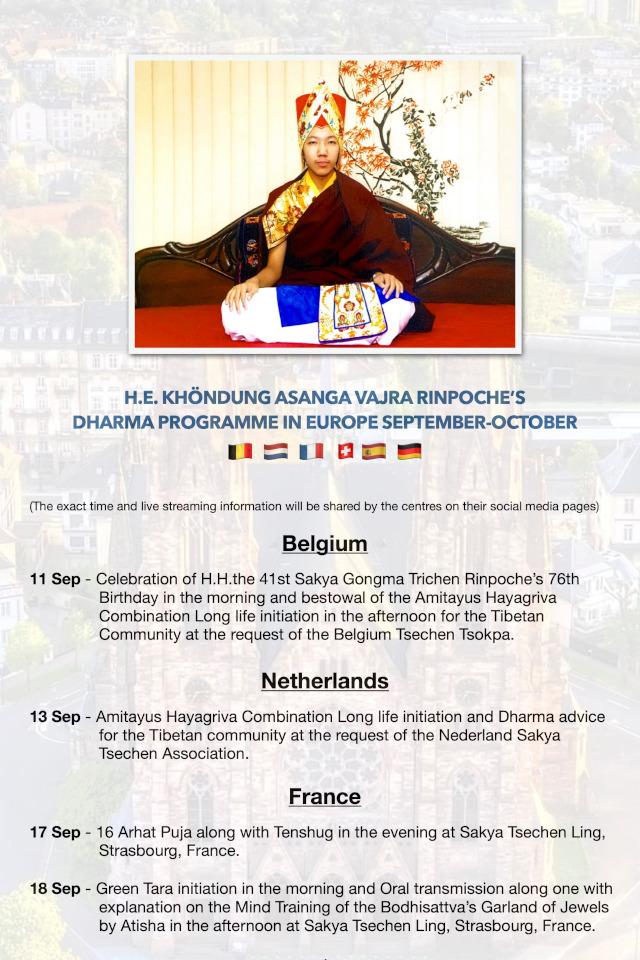 H.E. KHÖNDUNG ASANGA VAJRA RINPOCHE'S  DHARMA PROGRAMME IN EUROPE SEPTEMBER-OCTOBER